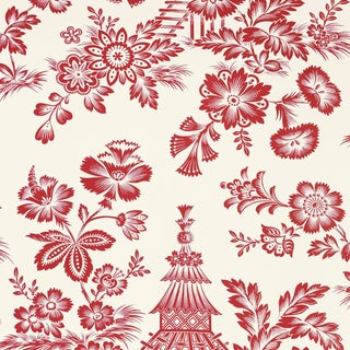 Schumacher Song Garden Wallpaper in Lacquer For Sale