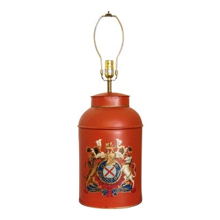 Vintage Hand Painted Red Tole Tea Caddy Lamp For Sale