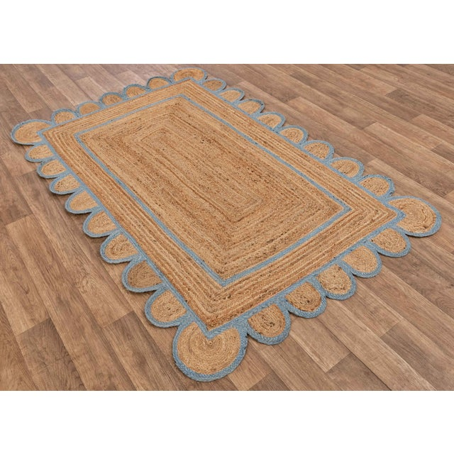Modern Light Blue Scallop Jute Hand Made Rug - 2'x3' For Sale - Image 3 of 9