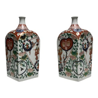 Asian Ornamental Sake Jars - a Pair For Sale