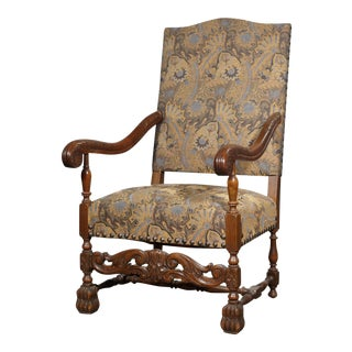 Danish Oak Wood Arm Chair in the Style of Louis XIV For Sale