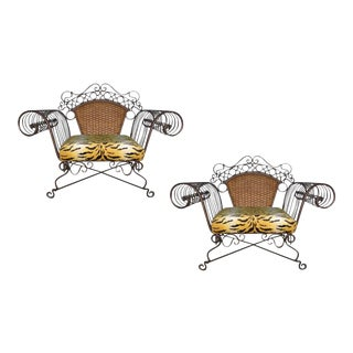 Boho Chic Iron and Rattan Scroll Arm Lounge Chairs - a Pair For Sale