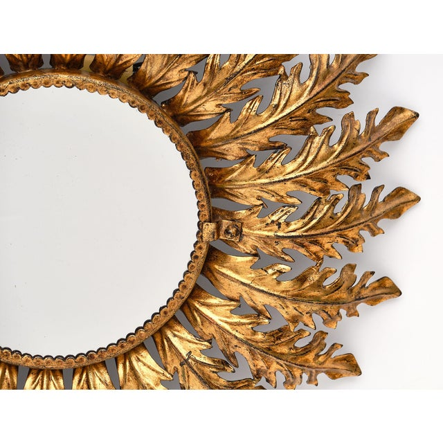 Gold Spanish Vintage Sunburst Mirror With Backlight For Sale - Image 8 of 10