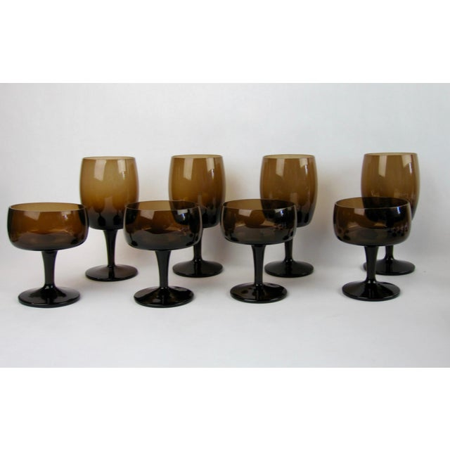 Boho Chic Vintage Smoked Brown Coupes & Goblets - Set of 21 For Sale - Image 3 of 8
