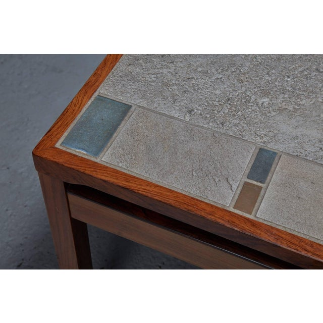 Large Danish modern mid-century rosewood and tile coffee table.