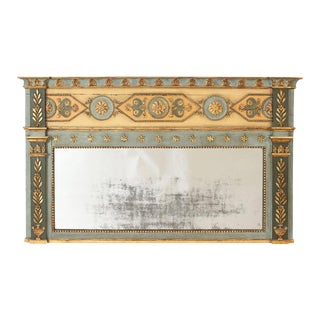 Neoclassical Painted & Gilt Decorated Overmantel Mirror