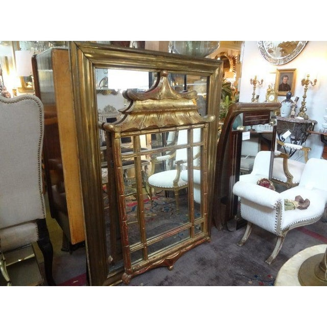 Italian Giltwood Chinese Chippendale Style or Chinoiserie Pagoda Mirror For Sale In Houston - Image 6 of 12