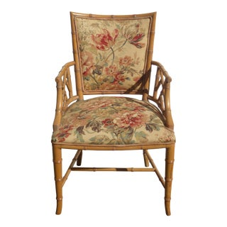 Vintage Chinese Chippendale Bamboo Rattan Accent Chair Upholstered in Gold Floral Fabric For Sale