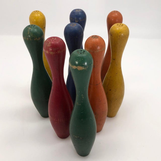 Early 20th Century Vintage Painted Wooden Toy Bowling Pins - Set of 9 For Sale - Image 4 of 11