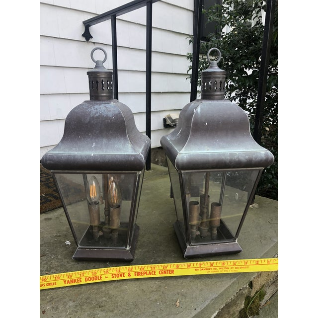 Georgian Art Lighting Solid Brass Outdoor Lighting - a Pair For Sale - Image 4 of 7