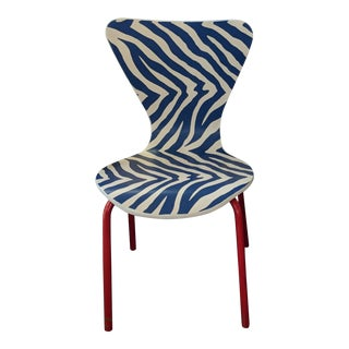 Vintage Red, White and Blue Child's Chair For Sale
