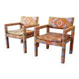 Image of Milo Baughman for Thayer Coggin Parsons Style Club Chairs in Outstanding Larsen Fabric For Sale