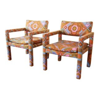 Milo Baughman for Thayer Coggin Parsons Style Club Chairs in Outstanding Larsen Fabric For Sale