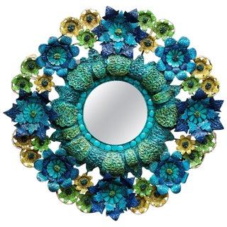 Artes De Mexico Tole Flower Mirror Saldana Maximalist Colors Sculpture Art For Sale