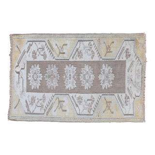 """Vintage Yellow Oushak Rug - 3'1"""" x 4'7"""" For Sale"""