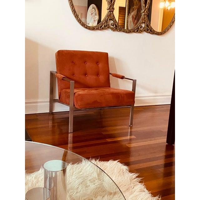 Milo Baughman for Thayer Coggin Club Chair. Aka The 1937 Armchair. Original burnt orange fabric. Very good vintage...