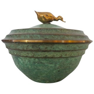 Carl Sorensen Art Deco Bronze Bowl with Lid