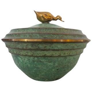Carl Sorensen Art Deco Bronze Bowl with Lid
