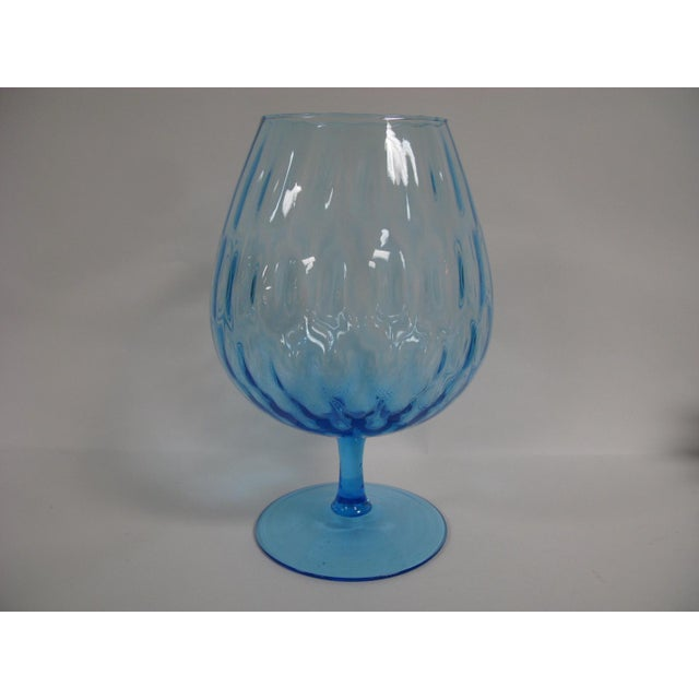 1960s Empoli Aqua Blue Optic Glass Snifter Vase For Sale - Image 11 of 13