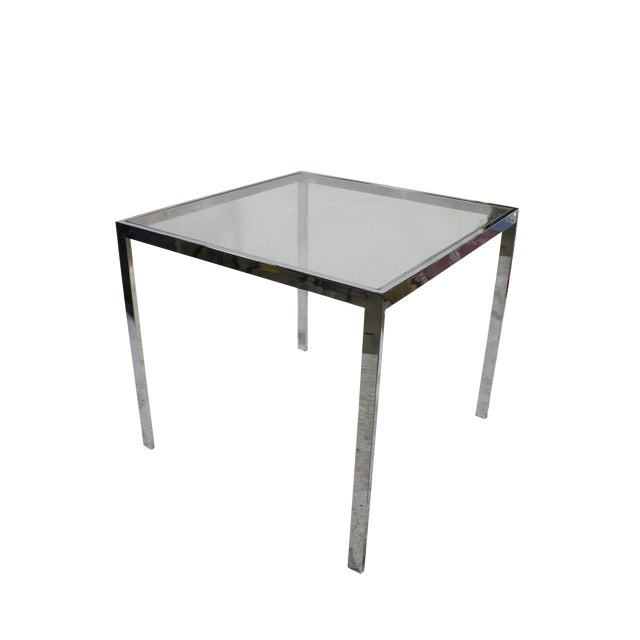 1970 39 s flat bar glass side table chairish for Table exit fly