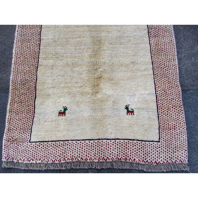 1970s, Handmade Vintage Persian Gabbeh Rug 3.5' X 4.11' For Sale - Image 9 of 11