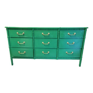 1960s Regency Lacquered Bamboo Credenza For Sale