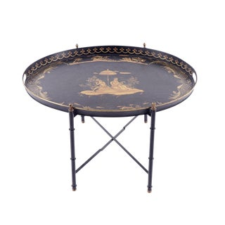 20th Century Chinoiserie Tole Painted Tray Table For Sale
