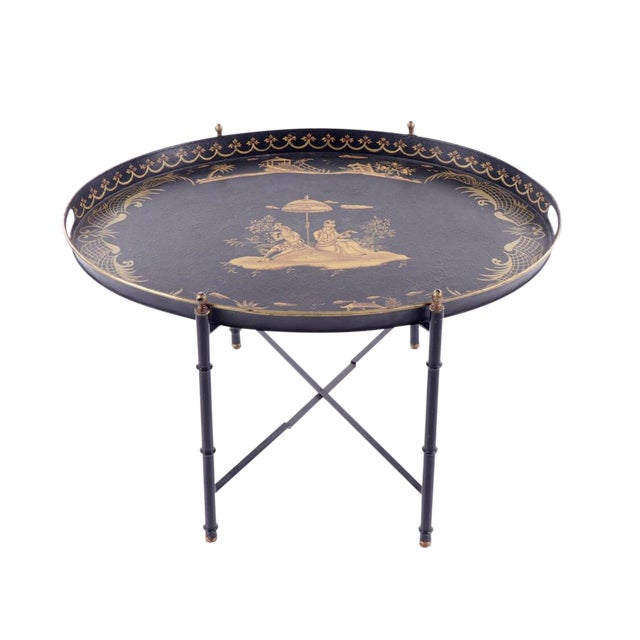 Chinoiserie Style Italian Painted Tray Table For Sale
