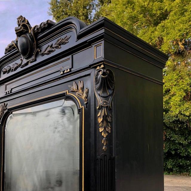 Metal 19th Century French Napoleon III Ebonized Armoire For Sale - Image 7 of 13
