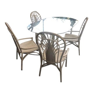 Vintage Rattan Hand Painted Dining Set, 5 Pieces For Sale