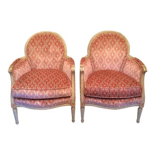French Louis XVI Style Painted Bergère Chairs - a Pair For Sale