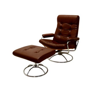 Vintage Plycraft Stressless Lounger & Ottoman For Sale