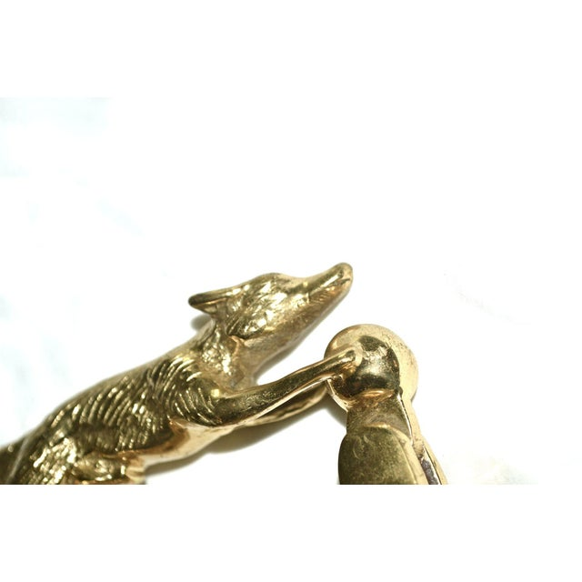Brass Fox With Ball Door Knocker For Sale - Image 7 of 11