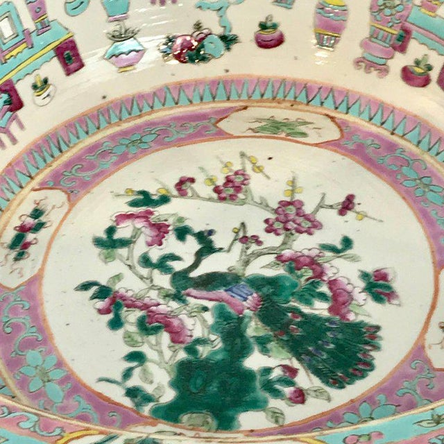 Large Qing Dynasty Famille Verte Peacock and Vase Motif Bowl For Sale - Image 11 of 13