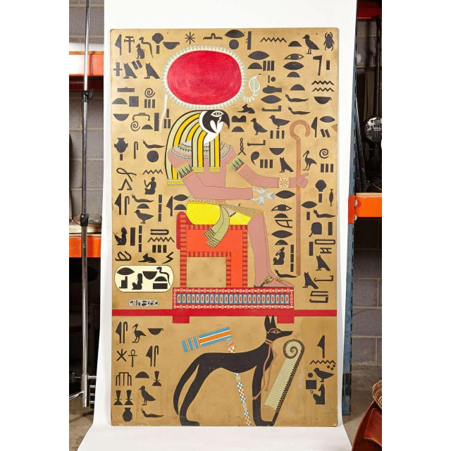 Art Deco Art Deco Egyptian Themed Art Panels Triptych Book of the Dead Symbolism For Sale - Image 3 of 11