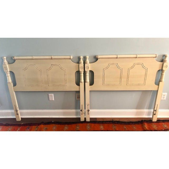 White Faux Bamboo Pagoda Twin Headboards- a Pair For Sale - Image 8 of 9