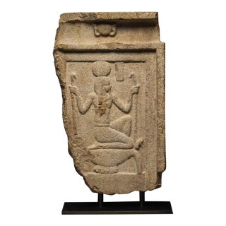Limestone Stele Depicting the God Heh For Sale