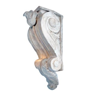 Vintage Scrolling Acanthus Empire Plaster Corbel Style Wall Bracket For Sale