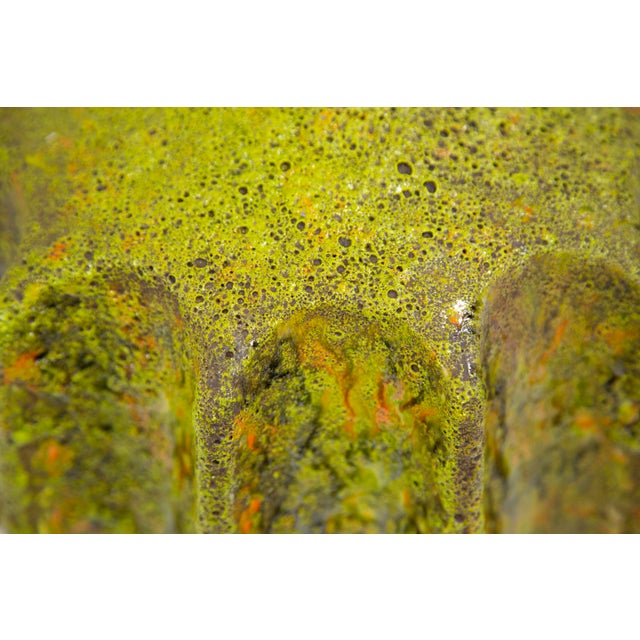Monumental Pair of Green Lava Glaze Lamps by Volcano Fantoni For Sale - Image 10 of 12