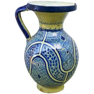 Blue Moorish Ceramic Pitcher For Sale