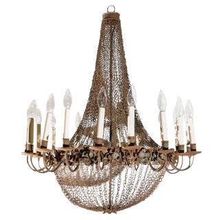 Large 18-Light Wire and Metal Chandelier For Sale
