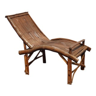 Vintage Mid Century Primitive Rustic Rattan Chaise Lounge Chair Tiki Palm Beach For Sale