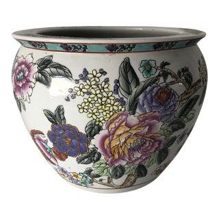Vintage Floral Design Chinese Porcelain Indoor Flower Pot For Sale