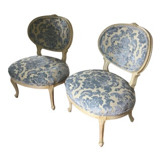 French Mid-Century Blue Velvet Upholstered Side Chairs - a Pair