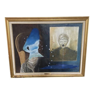 1980s Surrealist Oil Painting, Framed For Sale
