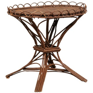 20th Century Swedish Wood Twig and Reed Oval Side Table For Sale