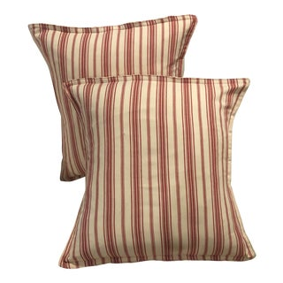 Custom Red and White Ticking Accent Pillows - a Pair For Sale