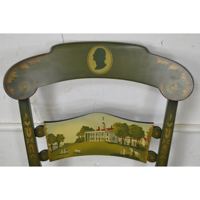 Traditional Hitchcock Green Painted George Washington Mount Vernon Cane Seat Side Chair For Sale - Image 3 of 13