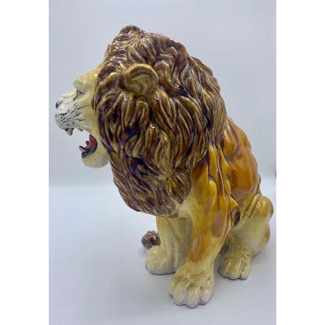 Hollywood Regency Large Italian Majolica Ceramic Roaring Lion Statue For Sale - Image 3 of 7