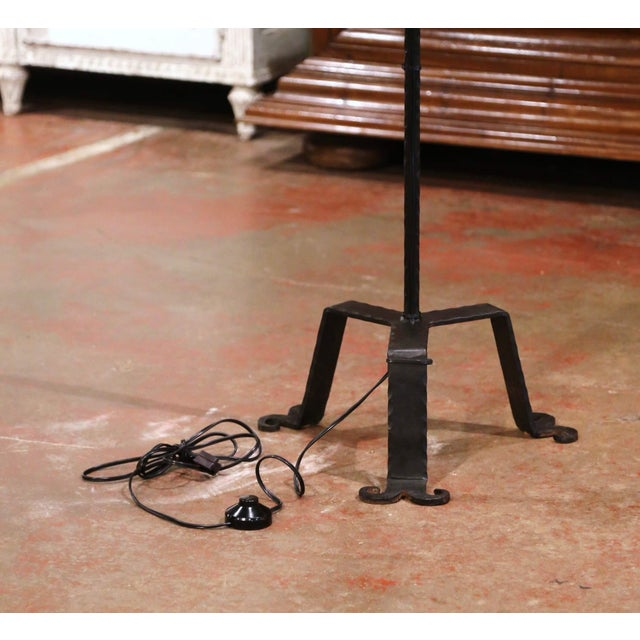 Early 20th Century Early 20th Century French Gothic Forged Iron Four-Light Floor Lamp For Sale - Image 5 of 13